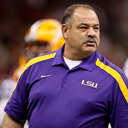 Jan 9, 2012; New Orleans, LA, USA; LSU Tigers defensive coordinator John Chavis before the 2012 BCS National Championship game against the Alabama Crimson Tide at the Mercedes-Benz Superdome.  Mandatory Credit: Derick E. Hingle-US PRESSWIRE