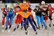 in the men's 10,000-meter Mass Start, World Cup speedskating competition at the Utah Olympic Oval in Kearns, Utah, Saturday, Feb. 19, 2011. (AP Photo/Colin E Braley)