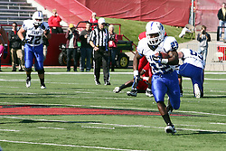 22 October 2011:  Shakir Bell cuts up the middle of the field during an NCAA football game  the Indiana State Sycamores lost to the Illinois State Redbirds (ISU) 17-14 at Hancock Stadium in Normal Illinois.