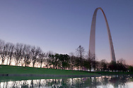 Gateway Arch Reflection at Dawn, Jefferson Expansion Memorial National Monument, St. Louis, Missouri