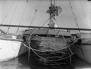 29/09/1959<br /> 09/29/1959<br /> 29 September 1959<br /> 40ft. ketch rigged catamaran, Rongo, entering Dun Laoghaire harbour. Mr James Wharram of Manchester, England, with a crew of two others made the crossing of the North Atlantic from Trinidad to Dun Laoghaire. The crossing took seven weeks rather than the expected four. Mr Wharram Had intended to cross the Irish Sea to Conway but were forced to put in at Dun Laoghaire owing to bad weather warnings and failing supplies.