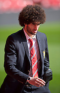 Marouane Fellaini of Manchester United arrives at the stadium before the Barclays Premier League match at Anfield, Liverpool<br /> Picture by Russell Hart/Focus Images Ltd 07791 688 420<br /> 22/03/2015