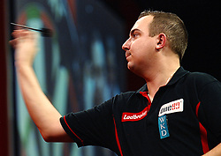 Belgium's Kim Huybrechts during his match against  England's James Richardson  in the Darts World Championships at Alexandra Palace, London, Tuesday, Dec.. 27, 2011. Photo by Morn/I-Images