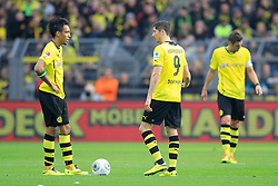 15.03.2014, Signal Iduna Park, Dortmund, GER, 1. FBL, Borussia Dortmund vs Borussia Moenchengladbach, 25. Runde, im Bild vl: Pierre-Emerick Aubameyang (Borussia Dortmund #17), Robert Lewandowski (Borussia Dortmund #9), Kapitaen Sebastian Kehl (Borussia Dortmund #5) enttaeuscht, niedergeschlagen, traurig, Emotion // during the German Bundesliga 25th round match between Borussia Dortmund and Borussia Moenchengladbach at the Signal Iduna Park in Dortmund, Germany on 2014/03/16. EXPA Pictures © 2014, PhotoCredit: EXPA/ Eibner-Pressefoto/ Schueler<br /> <br /> *****ATTENTION - OUT of GER*****