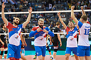 Poland, Krakow - 2017 September 03: (centre) Uros Kovacevic from Serbia celebrates with team mates victory for Serbia team while Third Place match between Belgium and Serbia during LOTTO EUROVOLLEY POLAND 2017 - European Championships in volleyball  at Tauron Arena on September 03, 2017 in Krakow, Poland.<br /> <br /> Mandatory credit:<br /> Photo by &copy; Adam Nurkiewicz<br /> <br /> Adam Nurkiewicz declares that he has no rights to the image of people at the photographs of his authorship.<br /> <br /> Picture also available in RAW (NEF) or TIFF format on special request.<br /> <br /> Any editorial, commercial or promotional use requires written permission from the author of image.
