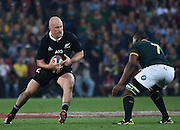 """JOHANNESBURG, South Africa, 04 October 2014 : Ben Franks of the All Blacks prepares to take the hit from Teboho """"Oupa"""" Mohoje of the Springboks during the Castle Lager Rugby Championship test match between SOUTH AFRICA and NEW ZEALAND at ELLIS PARK in Johannesburg, South Africa on 04 October 2014. <br /> The Springboks won 27-25 but the All Blacks successfully defended the 2014 Championship trophy.<br /> <br /> © Anton de Villiers / SASPA"""