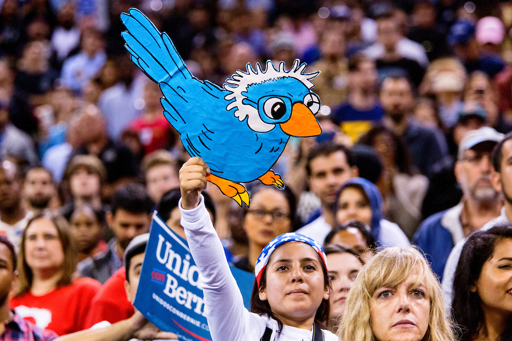 The legend of Birdie Sanders was created when a small bird landed on Bernie Sanders podium at a Portland, Oregon rally. May 17, 2016. Carson, Calif. (Photo by Gabriel Romero ©2016)