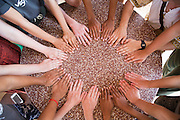 The hands of all the VSO ICS volunteers based in the village of Banteay Char, near Battambang, Cambodia.
