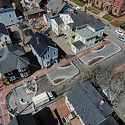 Aerial view of the construction status on April 16, 2015, at The African Burying Ground Memorial, Portsmouth 2015