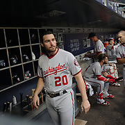 NEW YORK, NEW YORK - July 07: Daniel Murphy #20 of the Washington Nationals in the dugout preparing to bat during the Washington Nationals Vs New York Mets regular season MLB game at Citi Field on July 07, 2016 in New York City. (Photo by Tim Clayton/Corbis via Getty Images)