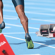 A runner out of the blocks in the Men's 400m competition during the Diamond League Adidas Grand Prix at Icahn Stadium, Randall's Island, Manhattan, New York, USA. 14th June 2014. Photo Tim Clayton