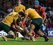 Wales George North battling for the try line whilst Australia have 2 yellow cards during the Rugby World CupPool A match between Australia and Wales at Twickenham, Richmond, United Kingdom on 10 October 2015. Photo by Matthew Redman.