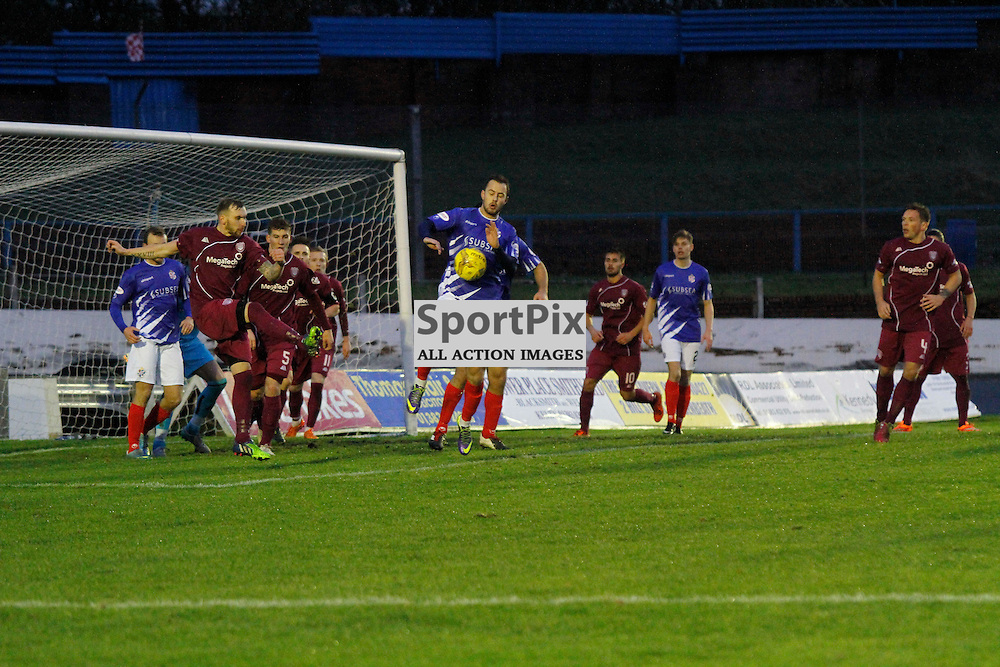 Cowdenbeath FC V Arbroath FC, Scottish Cup Round 3, 28 November 2015Cowdenbeath FC V Arbroath FC, Scottish Cup Round 3, 28 November 2015<br /> <br /> COWDENBEATH #10 GORDON SMITH GETS WHISTLE BLOWN FOR HAND BALL ON THIS ATTEMPT AT GOAL