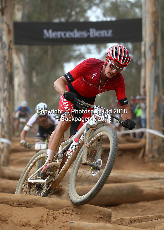 Samuel Gaze (NZL) leads Nino Schurter (SUI) during the 2018 UCI Mountain Bike World Cup Mens Elite race in Coetzenburg, Stellenbosch on 10 March 2018 ©Chris Ricco/BackpagePix / www.photosport.nz
