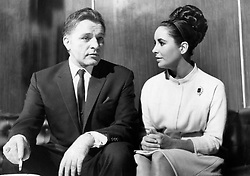 (R-L) Elizabeth Taylor and Richard Burton together during the filming of 'The VIPs' at Borehamwood in London