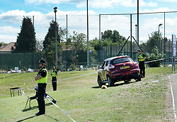© Licensed to London News Pictures. 25/06/2017. NEWCASTLE UPON TYNE UK. Police gather evidence at the scene of a fatal car crash near Westgate Sports Centre on West Road, Newcastle on 25th June 2017. A car hit worshippers leaveing Eid prayers at there are believed to be at least six people hurt in the incidentc. A 42 year old woman was arrested at the scene. Photo credit: MARY TURNER/LNP