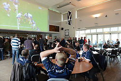 Bristol Rugby fans watch rugby in the Ealing Trailfinders clubhouse - Mandatory byline: Dougie Allward/JMP - 07966386802 - 10/10/2015 - RUGBY - Vallis Way -West Ealing,England - Ealing Trailfinders v Bristol Rugby - Greene King IPA Championship