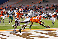 October 3, 2009:  Bowling Green's Freddie Barnes #7 dives for the ball during the NCAA footbal game game between Ohio Bobcats and BGSU Falcons atDoylt Perry Stadium in Bowling Green, Ohio