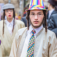 JERUSALEM - MARCH 13 : Ultra Orthodox man during Purim in Mea Shearim Jerusalem on March 13 2017 , Purim is a Jewish holiday celebrates the salvation of the jews from genocide in ancient Persia