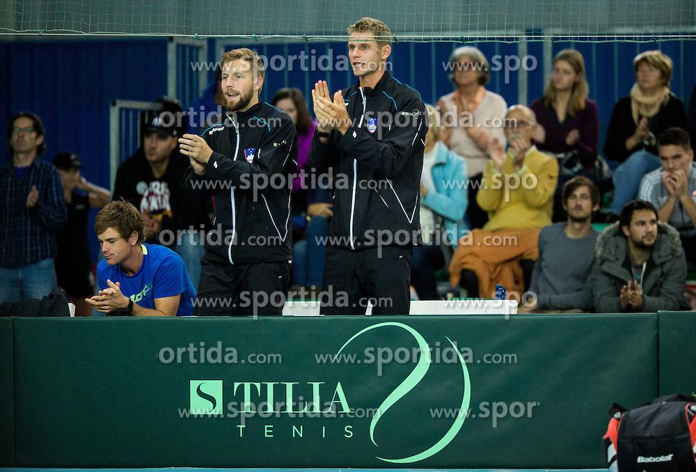 Tom Kocevar Desman and Blaz Rola during Davis Cup Slovenia vs Lithuania competition, on October 30, 2015 in Kranj, Slovenia. Photo by Vid Ponikvar / Sportida