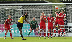 Ini Umotong of Oxford United hits a free kick over the Bristol City Women wall - Mandatory by-line: Robbie Stephenson/JMP - 25/06/2016 - FOOTBALL - Stoke Gifford Stadium - Bristol, England - Bristol City Women v Oxford United Women - FA Women's Super League 2