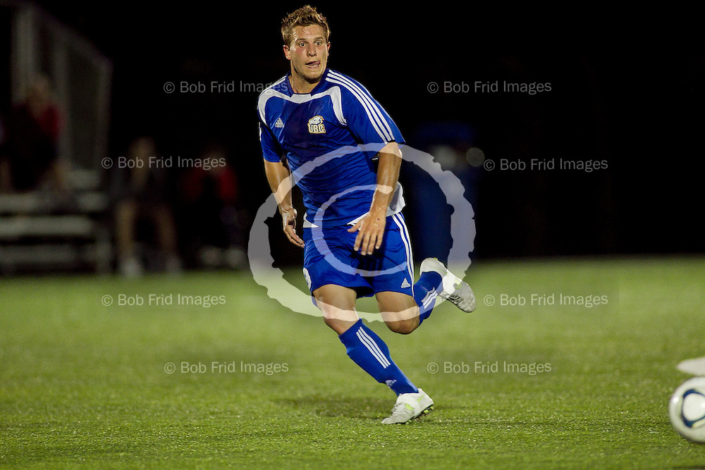 10 September 2011:  Action during a men's soccer game between the University of British Columbia Thunderbirds and the University College of Fraser Valley Cascades at Thunderbird Park, University of British Columbia, Vancouver, BC, Canada.  Final Score:  UBC 4 UCFV 2  ****(Photo by Bob Frid/UBC Athletics) 2011 All Rights Reserved****