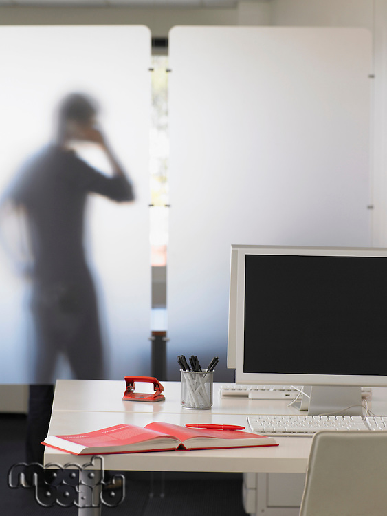 Office Worker Using Telephone Behind Partition