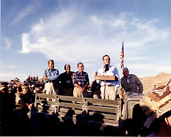 Nov. 22, 1990 - Saudi Arabia - Saudi Arabia - November 22, 1900 -- United States President George H.W. Bush speaks before sharing the holiday meal with United States military personnel in Saudi Arabia on Thanksgiving Day, November 22, 1990.  From left to right: United States Senate Minority Leader Bob Dole (Republican of Kansas); United States House Minority Leader Bob Michel (Republican of Illinois); United States Senate Majority Leader George Mitchell (Democrat of Maine); first lady Barbara Bush (partially obscured); President Bush; and Speaker of the United States House Tom Foley (Democrat of  Washington)..Credit: Ed Bailey - DoD via CNP (Credit Image: © Ed Bailey/CNP/ZUMAPRESS.com)