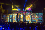 1 January 2017: Launch of Hull 2017 - Uk City of Culture.<br /> The story of Hull beamed onto the Ferens Art Gallery this evening.<br /> Picture: Sean Spencer/Hull News & Pictures Ltd<br /> 01482 210267/07976 433960<br /> www.hullnews.co.uk         sean@hullnews.co.uk
