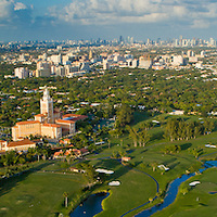Aerial view of the Biltmore hotel and golf course in Coral Gables,  Miami, South Florida.