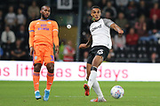 Derby County defender Max Lowe blocks a pass during the EFL Sky Bet Championship match between Derby County and Cardiff City at the Pride Park, Derby, England on 13 September 2019.