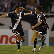 Éder Luís (left), is congratulated by team mate Fagner after scoring for Vasco during the Botafogo V Vasco, Futebol Brasileirao  League match at Estadio Olímpico Joao Havelange, Rio de Janeiro, The classic Rio derby match ended in a 2-2 draw. Rio de Janeiro,  Brazil. 22nd September 2010. Photo Tim Clayton..