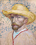 Painted self-portrait with straw hat. By Vincent Van Gogh. 1887, Oil on canvas.