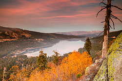 """Donner Lake in Autumn 6"" - Sunset photograph of yellow fall foliage and boulders above Donner Lake in Truckee, California"