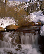 Waterfall, Kaweah River, River, Sawtooth Peak, Snow, Winter, Mineral King, Sequoia and Kings Canyon National Park, California