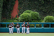 PHILADELPHIA, PA - JUNE 2: A group of Miami Marlins players congregate in the outfield during batting practice prior to a game against the Philadelphia Phillies at Citizens Bank Park on June 2, 2012 in Philadelphia, Pennsylvania. The Marlins won 5-4. (Photo by Joe Robbins)