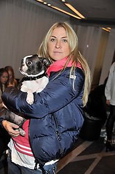 MEG MATHEWS and her dog Oscar at the NIP+FAB Bright Young Things Beauty Workshop Tea Party held at the W Hotel, Wardour Street, London W1 on 24th November 2012.