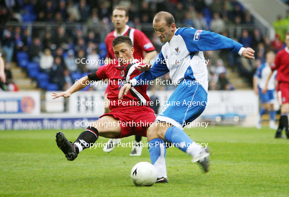 St Johnstone v Clyde....27.10.07<br /> Paul Sheerins shot is blocked by Michael McGowan<br /> Picture by Graeme Hart.<br /> Copyright Perthshire Picture Agency<br /> Tel: 01738 623350  Mobile: 07990 594431