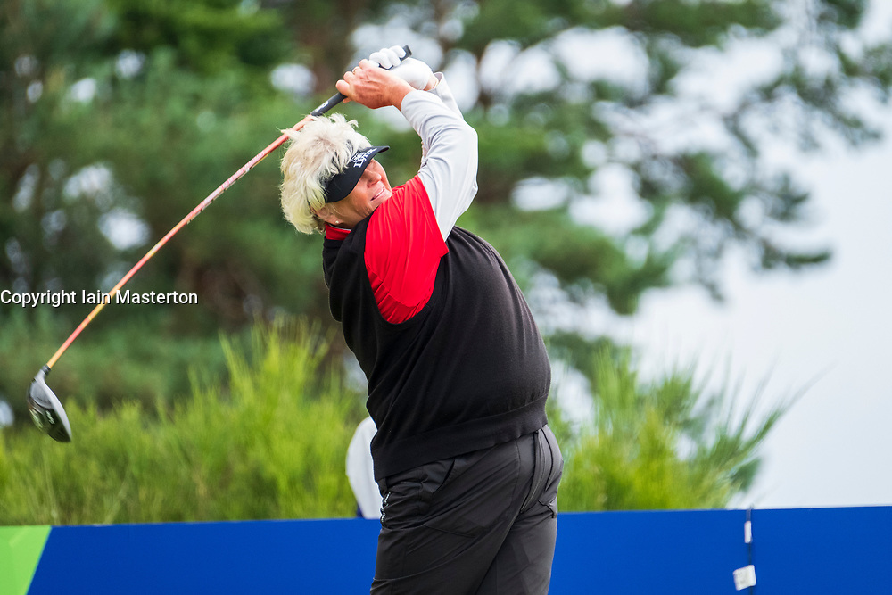 Gleneagles, Scotland, UK; 10 August, 2018.  Day three of European Championships 2018 competition at Gleneagles. Men's and Women's Team Championships Round Robin Group Stage. Four Ball Match Play format.  Pictured; Great Britain;'s Laura Davies  tees off on the 2nd hole in match against Belgium.