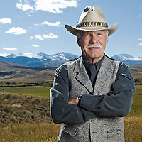 Ted Turner on his Snowcrest Ranch south of Alder, Mont.