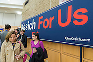 Hempstead, New York, USA. April 4, 2016. L-R, MARIA ZIEHER, of Garden City, and MARIELLA REYZIS of Brooklyn, both students of Hostra Law School, are next to a large 'Kasich For Us' banner at the Town Hall hosted by John Kasich, Republican presidential candidate and governor of Ohio, at Hofstra University David Mack Student Center in Long Island. Zieher registered for the Republican Party to vote for Gov. Kasich. The New York primary is April 19, and Kasich is the first of the three GOP presidential candidates to campaign in Nassau and Suffolk Counties, and is in third place in number of delegates won.