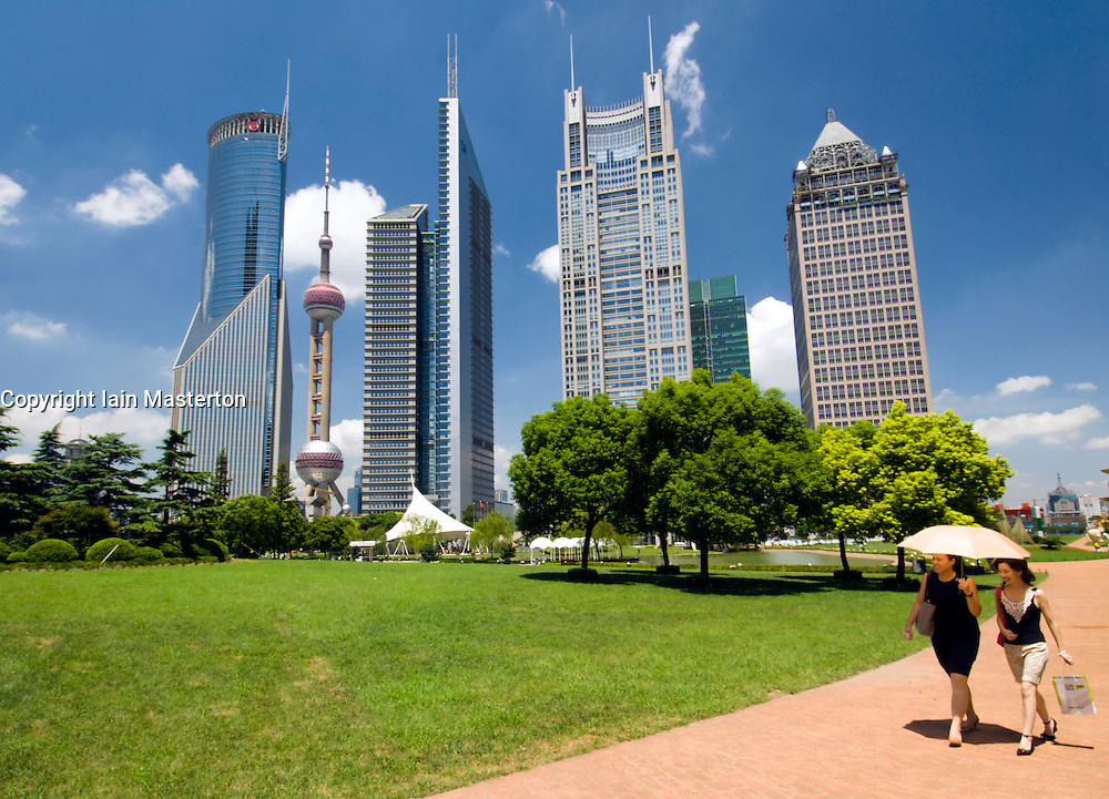 Skyline of skyscrapers and modern park in Liujiazui financial district of Shanghai China