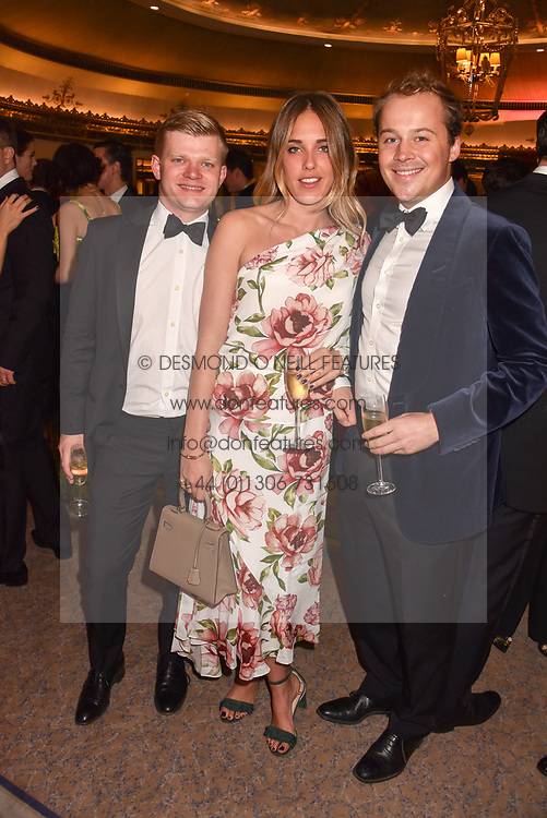 Left to right, Lord Porchester, Daisy Knatchbull and Luke Stopford Sackville at The Cartier Racing Awards 2018 held at The Dorchester, Park Lane, England. 13 November 2018. <br /> <br /> ***For fees please contact us prior to publication***