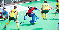 ANTWERP -    Chris Ciriello (not on the picture)  scores 0-3) . Goalkeeper Sreejesh  Parattu during  the hockeymatch   India vs Australia.  left Aran Zalewski  and right Matt Gohdes . WSP COPYRIGHT KOEN SUYK