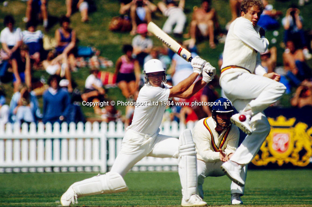 Martin Crowe of New Zealand in action and David Gower of England turns to avoid the ball. Photo: Photosport.co.nz