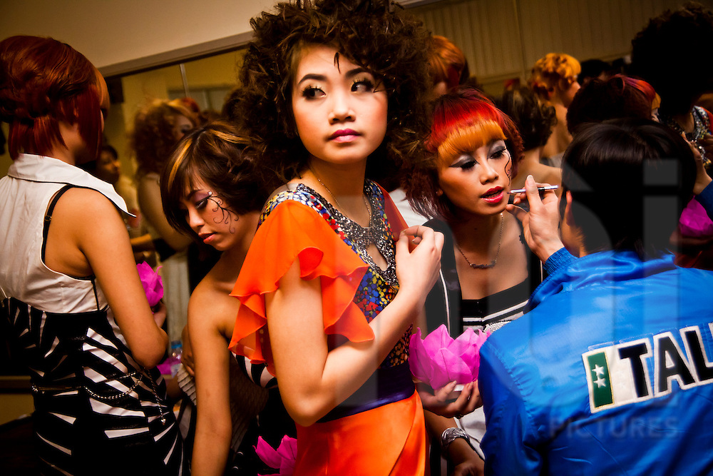Models backstage at a show in Hanoi, Vietnam