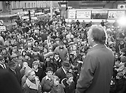 Image of Fianna Fáil leader Charles Haughey touring West Cork during his 1982 election campaign...04/02/1982.02/04/82.4th February 1982..Faces:..Charles Haughey peers over the crowd he addresses. .