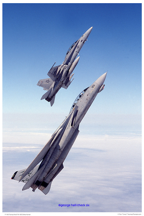F-14D with F-18D, air-to-air