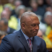 ANNAPOLIS, MD - FEB19: Eric King, right to die advocate and a black minister from Baltimore, testifies during a Maryland General Assembly hearing on right to die issues, February, 19, 2016, about his wife Marlene's painful battle with breast cancer late last year. While his church doesn't agree with the legislation, he is doing this for his wife. (Photo by Evelyn Hockstein/For The Washington Post)