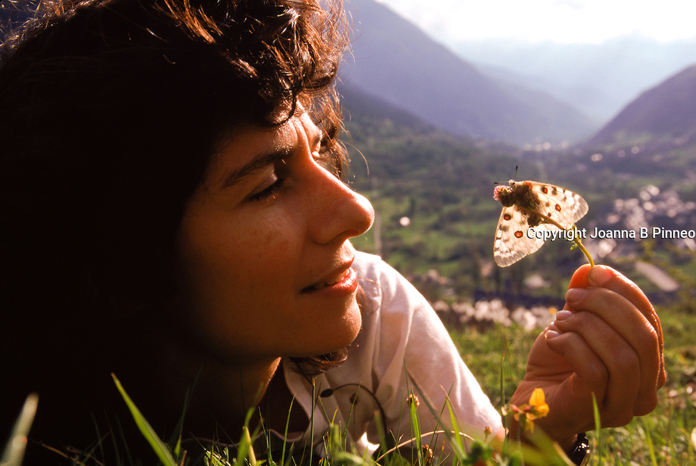 Conservation biologist Dr.Camille Parmesan studying the migration of butterflies in the Pyrenees, Spain. In 2007, as a lead author, she shared in the Nobel Peace Prize awarded to the Intergovernmental Panel on Climate Change along with Al Gore.